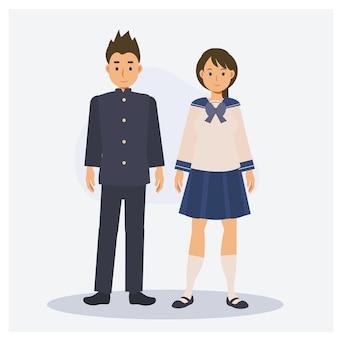 男性と女性のティーンエイジャーの日本の学校の学生。フラットベクトル2d漫画のキャラクターイラスト。