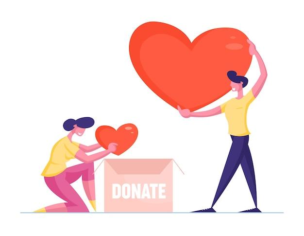 남성 및 여성 자원 봉사 캐릭터가 골판지 기부 상자에 하트를 넣습니다.