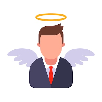 Male angel in a business suit. flat   illustration.