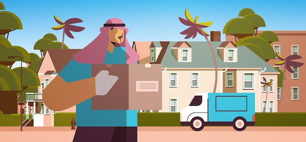 Male arab courier in mask and gloves holding cardboard box contactless delivery medical courier service concept horizontal portrait vector illustration