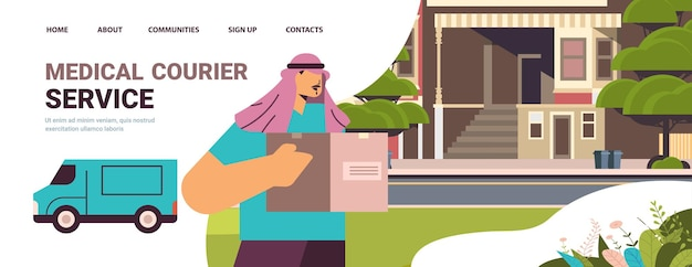 Male arab courier in mask and gloves holding cardboard box contactless delivery medical courier service concept