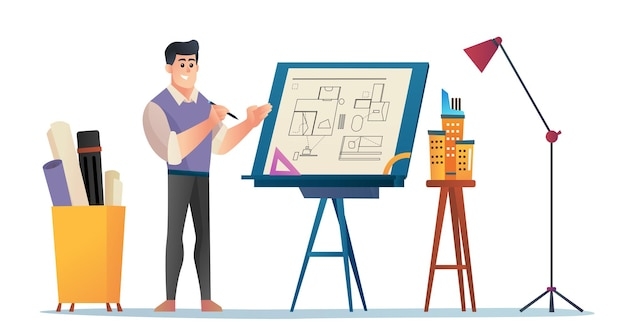Male architect presenting project concept cartoon illustration
