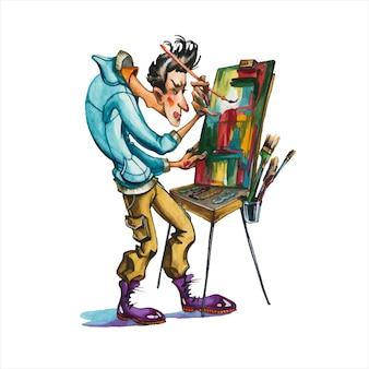 男性アーティスト手描き水彩イラスト。抽象主義者、パレットとイーゼルの漫画のキャラクターを持つ画家