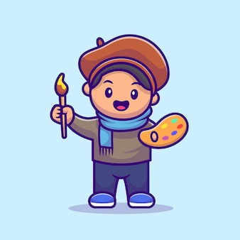 Male artist painter cartoon illustration. people profession icon concept