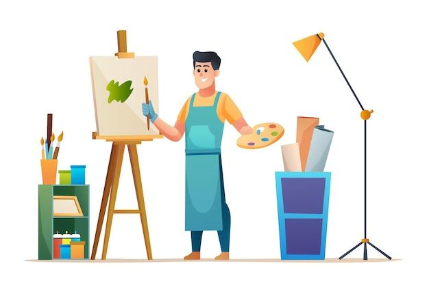 Художник-мужчина рисует на холсте в студии концепции иллюстрации