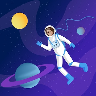 Male astronaut in outer space