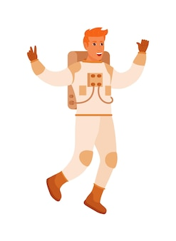 Мужчина-космонавт показывает забавный жест на белом фоне