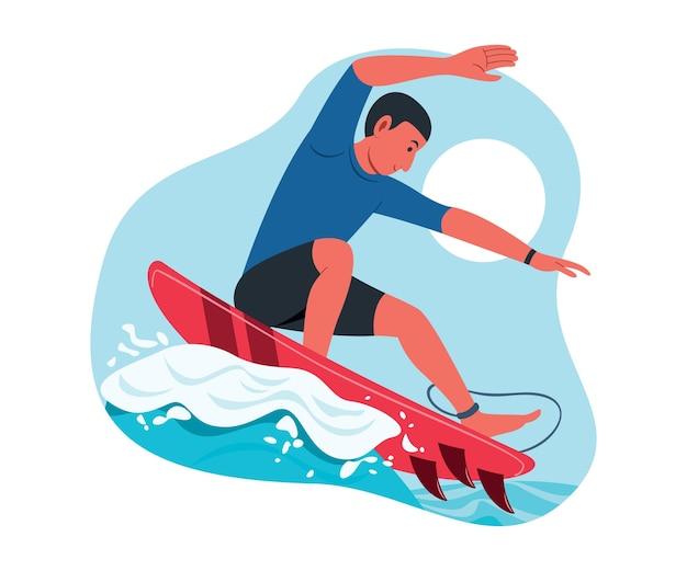 男性アスリートが海でサーフボードをする