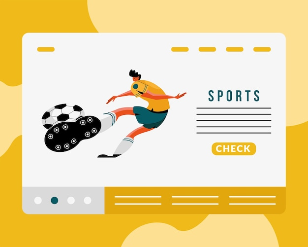 Male athlete practicing soccer sport character and lettering illustration design