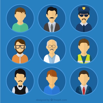 Male avatars of professions Free Vector