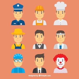 Avatar maschile con vari tipi di posti di lavoro