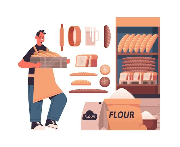 Мужской пекарь в униформе, держащий багеты, различные хлебобулочные изделия, кондитерские изделия, концепция выпечки, полная длина, изолированных векторная иллюстрация