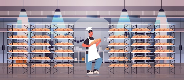 Male baker in uniform holding bread bakery products baking manufacture concept full length horizontal vector illustration
