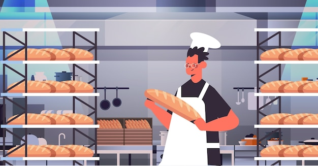 Male baker in uniform holding bread bakery products baking manufacture concept portrait horizontal vector illustration
