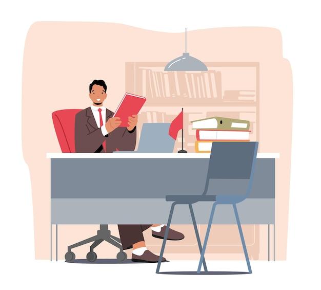 手にフォルダーを保持しているテーブルの職場に座っている男性の銀行員。銀行アシスタント、顧客へのサービス提供、会計士または弁護士事務所部門。漫画の人々のベクトル図