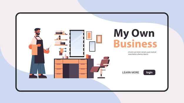Male barber character in uniform barbershop own business concept horizontal full length copy space vector illustration