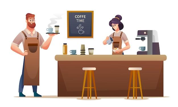 コーヒーを運ぶ男性のバリスタとコーヒーショップのイラストでコーヒーを作る女性のバリスタ