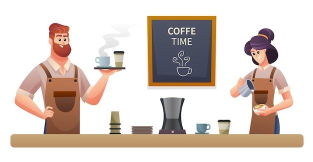コーヒーを運ぶ男性のバリスタとコーヒーのイラストを作る女性のバリスタ