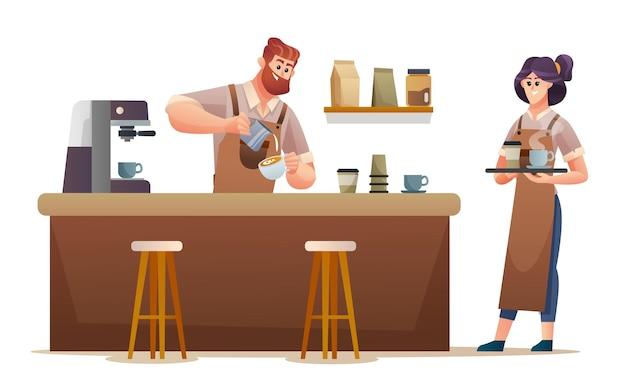コーヒーを作る男性のバリスタとコーヒーショップのイラストでコーヒーを運ぶ女性のバリスタ