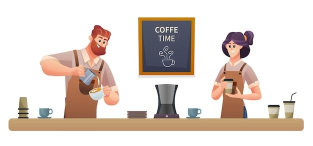 コーヒーを作る男性のバリスタとコーヒーのイラストを運ぶ女性のバリスタ