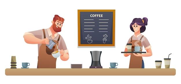 コーヒーを作る男性のバリスタとトレイのイラストでコーヒーを運ぶ女性のバリスタ