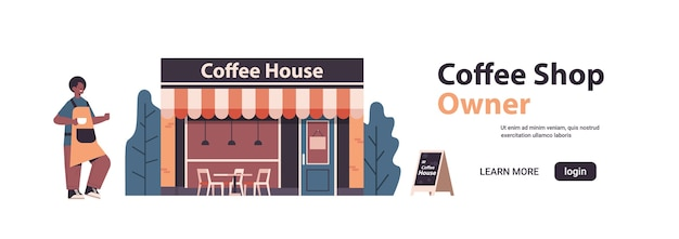 Male barista in uniform coffee shop owner in apron standing near coffee house isolated horizontal full length copy space vector illustration