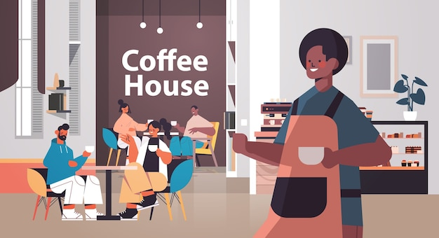 Male barista in uniform working in coffee house waiter in apron serving coffee for clients modern cafe interior horizontal vector illustration
