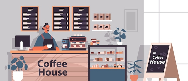 Male barista in uniform working in modern coffee house waiter in apron standing at cafe counter horizontal portrait vector illustration