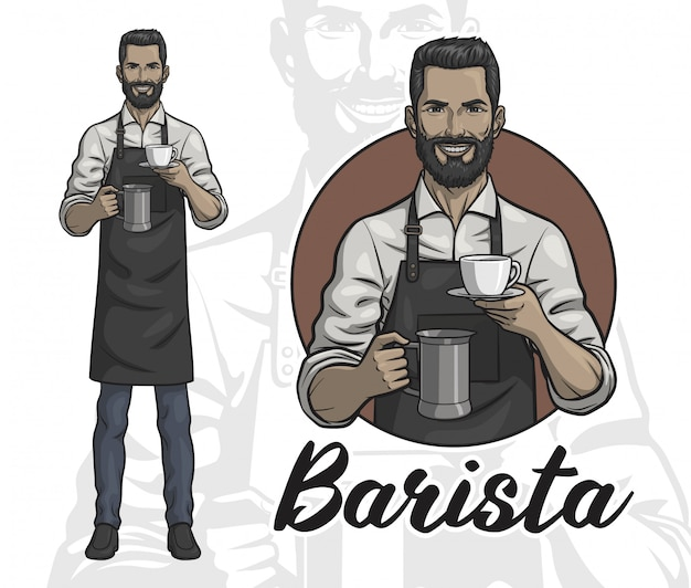 A male barista with a cup of coffee