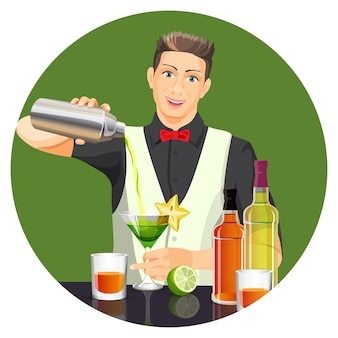 Male bartender making cocktail by pouring liquid from silver bottle in glass with green drink.