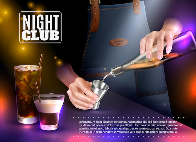 Male bartender making cocktails in night club realistic