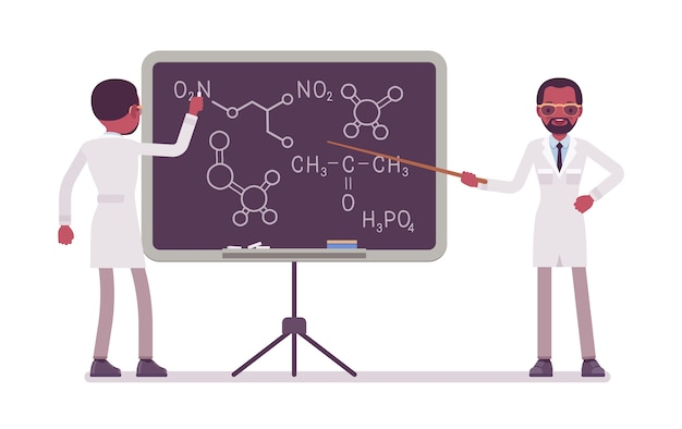 黒板に男性の黒の科学者