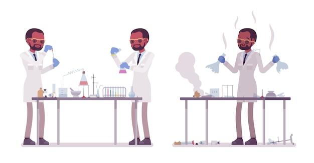Мужской черный ученый делает химические эксперименты. эксперт физической, натуральной лаборатории в белом халате. наука, концепция технологии. иллюстрации шаржа стиля на белой предпосылке