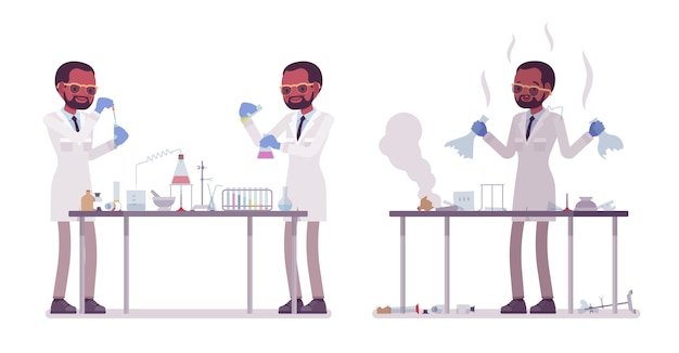 Male black scientist making chemical experiments. expert of physical, natural laboratory in white coat. science, technology concept.   style cartoon illustration  on white background
