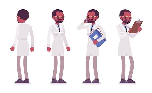 立っている男性の黒の科学者。白衣の物理的で自然な実験室の専門家。科学、技術の概念。白い背景、フロント、リアビューのスタイル漫画イラスト