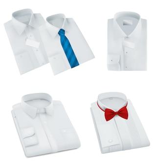 男性の空白の折り畳みシャツセット