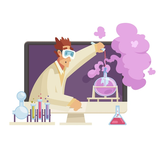 Male blogger carrying out scientific experiments with chemicals in his video cartoon