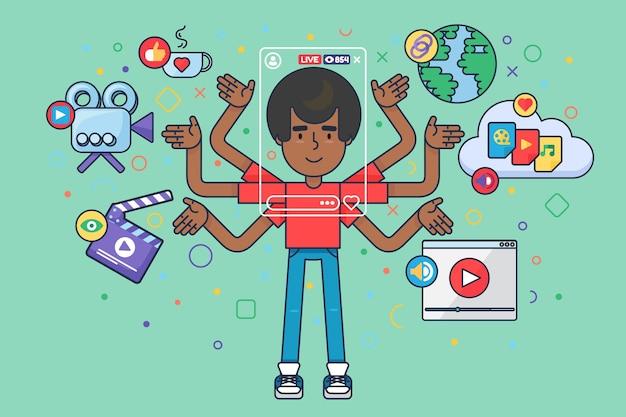 男性ブロガーライフスタイルセミフラットコンセプトイラスト。アフロ少年の漫画のキャラクターは、オンラインストーリーテリングを作成します。ポッドキャストを制作するソーシャルライブストリーム。ベクトル分離カラー描画