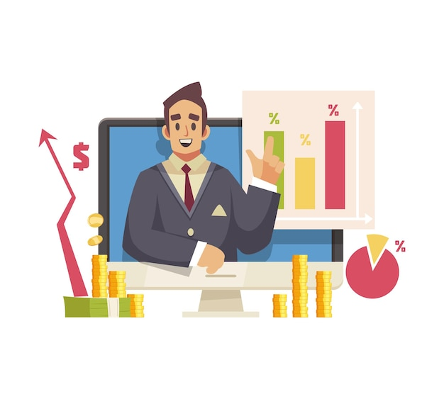Male blogger streaming video on finance and banking cartoon