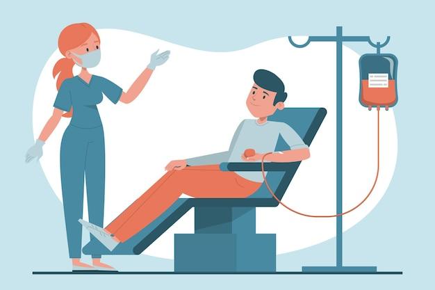 Донор мужской крови сидит в больничной лаборатории