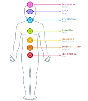 Male body chakras infographic