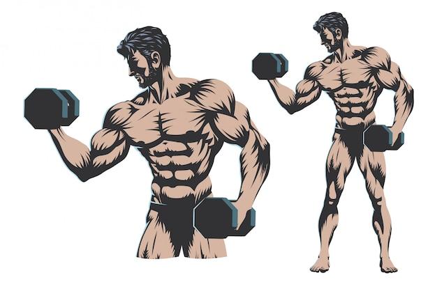 Male bodybuilder full body with dumbbell