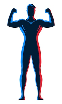 Male bodybuilder standing and posing with arms with red and blue neon contour lighting on his body