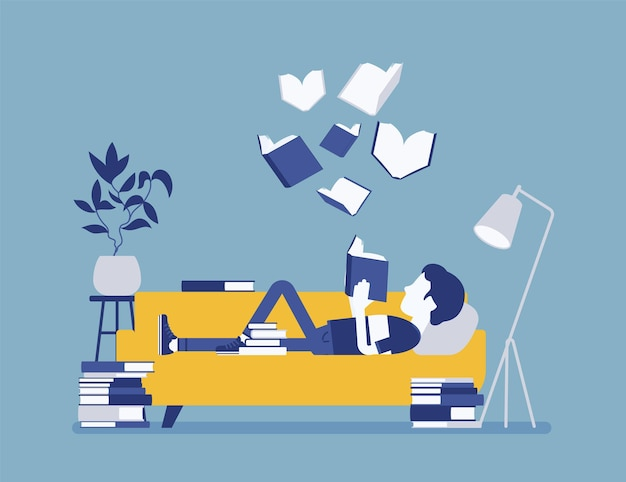 Male book reader. boy reads for pleasure lying on sofa, enjoys free time around literary pages, open volumes floating above, home interior or library room. vector illustration, faceless characters