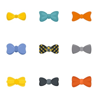 Male bow tie icon set, flat style