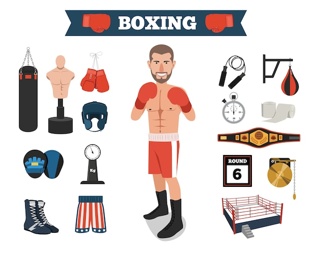 Male boxer with boxing equipment tools