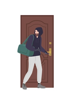 Male burglar wearing hoodie trying to unlock door with lock pick and break in house. theft, burglary or housebreaking. thief, burglar, criminal or outlaw. flat cartoon colorful vector illustration.