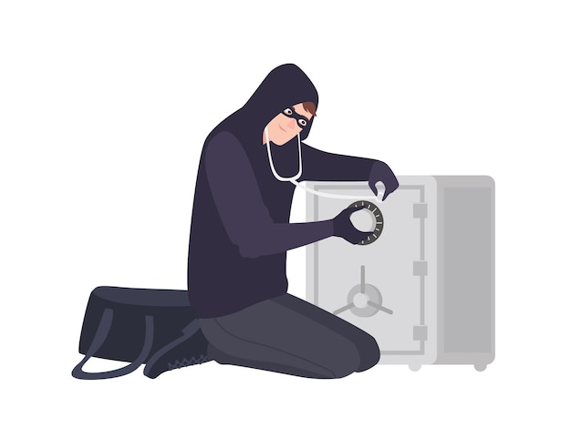 Male burglar wearing mask and hoodie using stethoscope to open safe or strongbox. theft, burglary or housebreaking