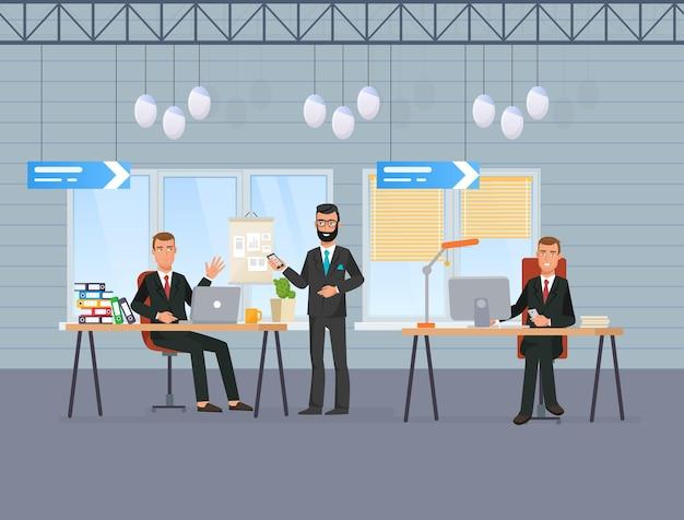 사무실 직장에서 상사와 이야기하는 남성 비즈니스 직원. 노트북 컴퓨터 작업으로 책상에 정장을 입은 남자가 클라이언트를 협상합니다. 점원 또는 관리자는 서로 통신하여 작업 문제 벡터에 대해 논의합니다.