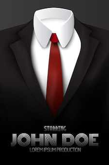 Male business suit advertising poster with red tie and white shirt